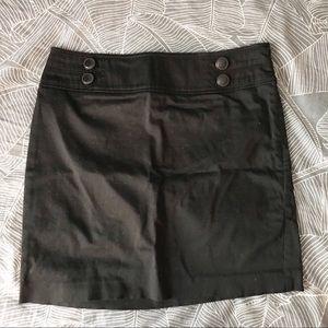 Loft Mini Black Pencil Skirt Button Detail